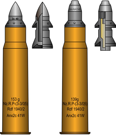 Боеприпасы к 2,8 cm schwere Panzerbüchse 41: 1. Бронебойный подкалиберный снаряд (слева) 2. Осколочный снаряд (справа)