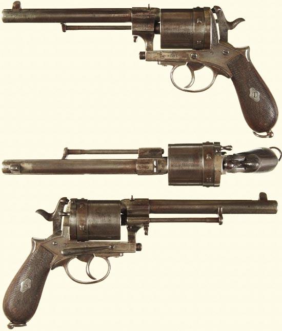 Gasser M1870/74 вид слева, сверху, справа