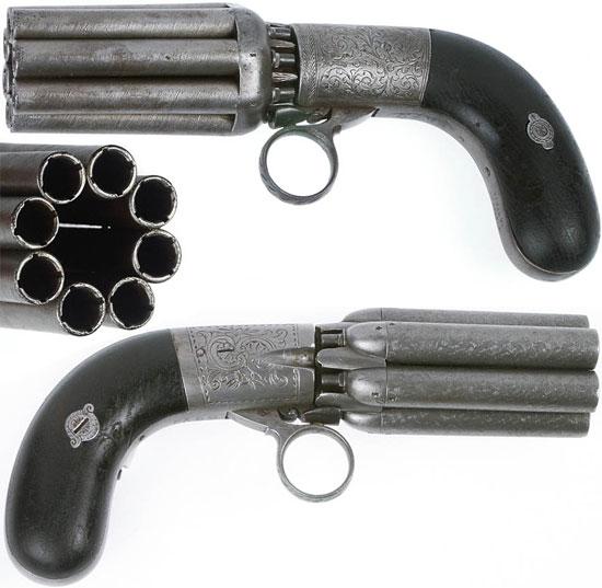 Mariette Brevete Pepperbox калибра 7.8 мм (вверху) и 9.6 мм (внизу) с 8 стволами длиной 90 мм, общая длина - 200 мм