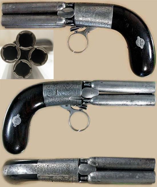 Mariette Brevete Pepperbox калибра 9 мм с 4 стволами длиной 60 мм