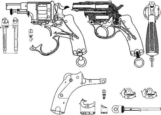 Nagant M 1878 чертеж к британскому патенту № 4310 от 1879 г на УСМ и шомпол-экстрактор конструкции Эмиля Нагана