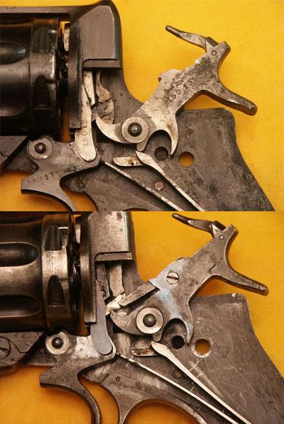 УСМ одинарного действия (вверху) УСМ двойного действия (внизу) используемые в револьвере Nagant M 1895