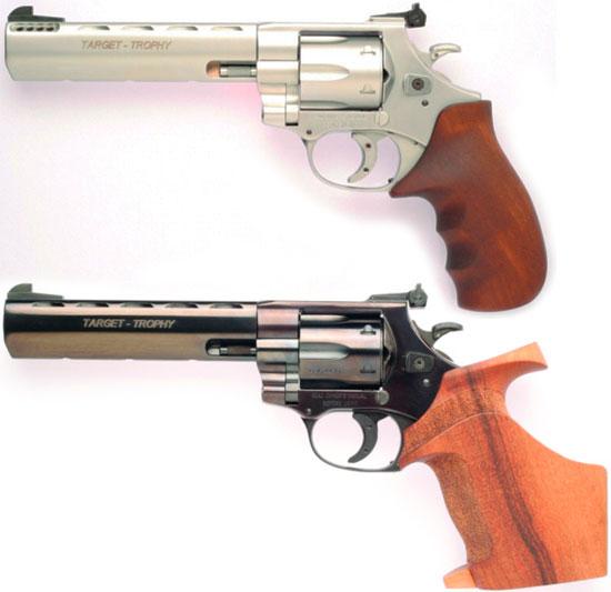 Arminius HW 357 «Target Trophy» с дульным компенсатором и рукояткой «Combat» (вверху) и рукояткой «Match» (внизу)