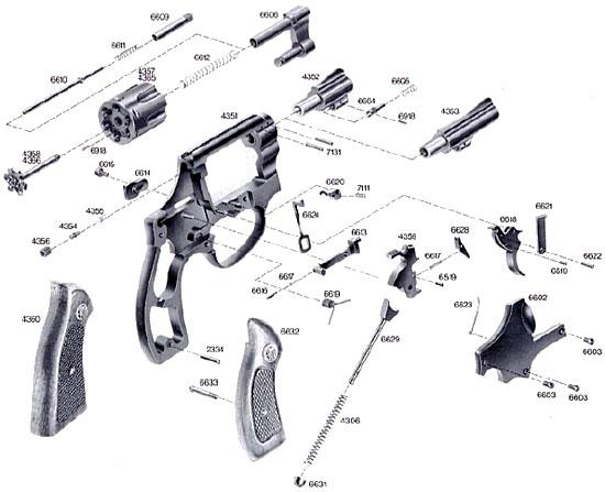 Взрыв-схема револьверов ERMA ER 422 / ER 423