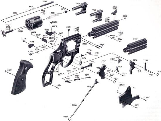 Взрыв-схема револьверов ERMA ER 770-й серии
