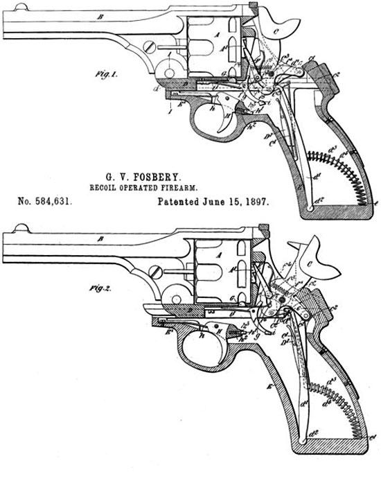 Схема из патента США, выданного полковнику Фосбери на его автоматический револьвер. Fig.1 - Верхняя часть рамки находится в исходном (переднем) положении. Fig.2 - Верхняя часть рамки отошла назад под действием отдачи, взводя курок и вращая барабан. (Следует обратить внимание, что схема проворота барабана отличается от решения, использованного на серийных револьверах Webley-Fosbery)