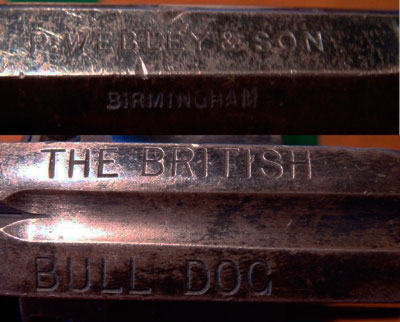 Webley № 2 British Bull Dog (вид на верхнюю планку ствола и рамки)