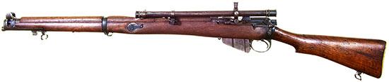 SMLE Mk III T. Ранняя модель. Хорошо виден боковой механический прицел для стрельбы по групповым целям