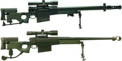 Accuracy International AW-50 прототип (вверху) окончательная версия (внизу)