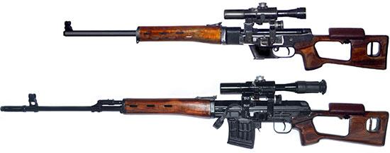 ТСВ-1 (сверху) в сравнении с СВД (снизу)