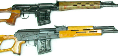 Снайперская винтовка PSL (внизу) в сравнении с винтовкой СВД (вверху)