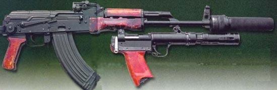 стрелково-гранатометный комплекс «Тишина» автомат АКМС, глушитель ПБС-1, подствольный гранатомет БС-1 (РГА-86)