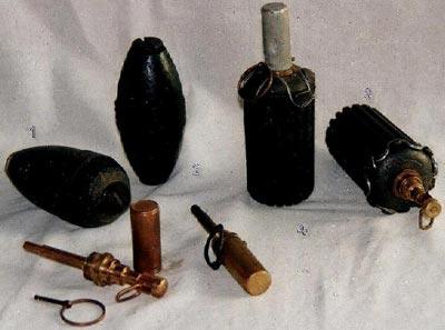 Финские оборонительные ручные гранаты и запалы к ним S - 16/20 1. - М-32 каплевидной формы 2. - М-32 веретенообразной формы 3,4. - М-41 различные образцы