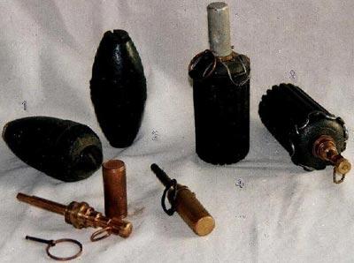 Финские оборонительные ручные гранаты и запалы к ним S - 16/20 1 - М-32 каплевидной формы 2 - М-32 веретенообразной формы 3,4 - М-41 различные образцы
