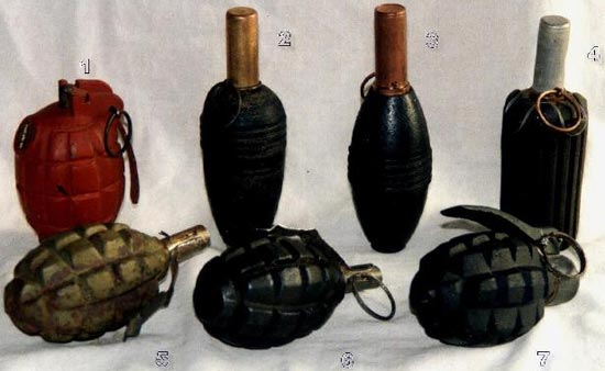 1 - Милльса 2,3 - М-32 4 - М-41 5 - OF-15 6 - Советская оборонительная граната Ф-1 с запалом Ковешникова 7 - Польская оборонительная граната О-23 с запалом Роллана