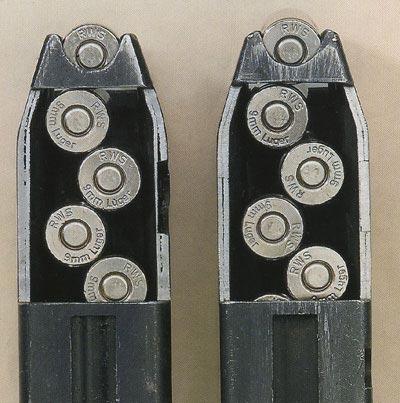 Влияния нет: магазины для МР 38/40 с ребрами на корпусе отличаются от магазинов с гладким корпусом только внешне. В области досылания оба оснащены направляющими, поэтому расположение патронов одинаковое.