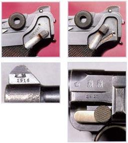 Измененный предохранитель на пистолете обр. 1904 г. В данном случае удаление и нанесение букв GESICHERT («предохранение») выполнено профессионально. Вверху. Мушка пистолета модели 04-14 с нанесенным годом изготовления -1916 г. Справа. Клейма приемки на пистолете модели 04-14, датированные 1916 годом.