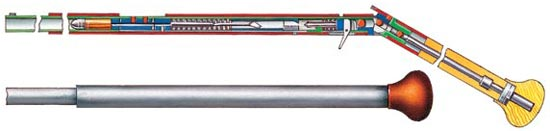 «Трость-ружье», запатентованное Теофилем Келлером (Франция, 1887 год), перед выстрелом переламывалось, образуя подобие приклада