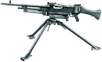 Английский единый пулемет L7A1 в варианте станкового пулемета на станке-треноге L4A1