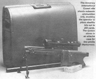 """Винтовка Accuracy International """"Covert"""" использует только дозвуко-вые патроны, позволяя стрелку производить точные выстрелы из укрытия на расстояние до 200 метров. Система может храниться в кейсе для скрытой транспортировки"""