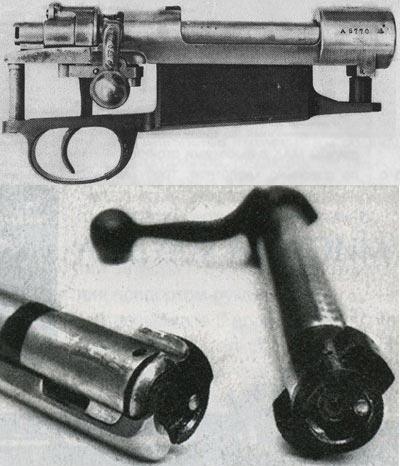 Невзирая на внешнее сходство с системой Маузера, затвор винтовки Ruger 77 (верхнее фото) досылает патрон в патронник без предварительного захвата закраины выбрасывателем. Кроме того, подобно ремингтоновскому затвору (нижнее фото), он использует плунжерный эжектор.