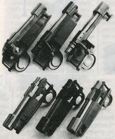 Слева направо: Три коммерческих варианта маузеровской системы – испанская Santa Barbara, югославская Mark X и бельгийская FN. Они имеют регулируемые спусковые механизмы, предохранители, приспособленные для использования оптики, и еще ряд улучшений.