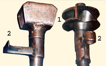 Рис. 7. Дульные тормоза (1) и пушки (2) ПТРД (слева) и ПТРС  (справа)