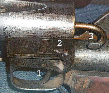 Рис. 10. ПТРД, вид слева: 1 – спусковой крючок, 2 – затворная  задержка, 3 – предохранитель
