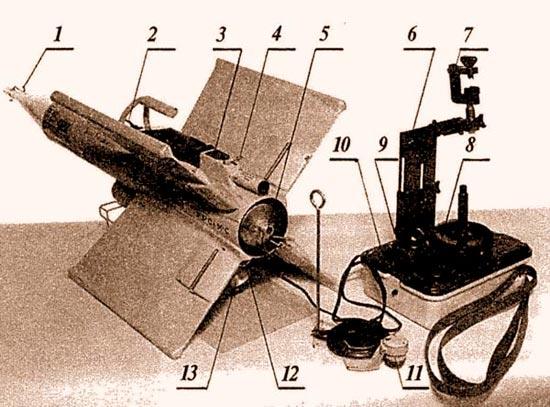 «Кобра» в положении готовности к пуску: 1 – головная часть взрыва-тельного устройства; 2 – транспортировочная рукоятка; 3 – контрольный бортразъем; 4 – стопорный шплинт трассера; 5 – сопло маршевого двигателя; 6–регулируемая по высоте стойка прицела; 7 – струбцина для крепления полевого бинокля; 8 – крышка аккумуляторной батареи; 9 – электро-разъем кабеля управления; 10 – кнопка «пуск»; 11 – бортовой электроразъем кабеля управления; 12 – шунт запальной электроцепи двигателя; 13 – наклонное сопло стартового двигателя. Корпус планера «Кобры» изготовлен из картонной трубы с упрочняющей пропиткой. Корпуса маршевого и стартового двигателей штамованные из алюминиевого сплава. Пластмассовые детали изготовлены литьем из термо-пластичных пластмасс