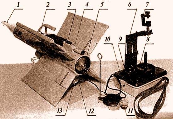 ПТУРС «Кобра» в боевом положении: 1 – головная часть взрыва-тельного устройства; 2 – транспорти-ровочная рукоятка; 3 – контрольный бортразъем; 4 – стопорный шплинт трассера; 5 – сопло маршевого двигателя; 6–регулируемая по высоте стойка прицела; 7 – струбцина для крепления полевого бинокля; 8 – крышка аккумуляторной батареи; 9 – электро-разъем кабеля управления; 10 – кнопка «пуск»; 11 – бортовой электроразъем кабеля управления; 12 – шунт запальной электроцепи двигателя; 13 – наклонное сопло стартового двигателя