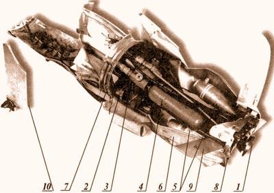 Остатки ПТУРСа «Toy». Снаряд был выпущнен по египетскому танку, но прошел мимо и подорвался на грунте. Анализ остатков снаряда позволил определить частоту управляющих сигналов. 1 – вышивной двигатель; 2 – одна из четырех рулевых машинок; 3 – редуктор гелиевого баллона; 4 – баллон со сжатым до 400 атмосфер гелием для привода рулевых машинок; 5 – две катушки проводной линии связи; 6 – корпус отсека управления; 7 – дно двигательного отсека; 8 – бортовой источник модулированного излучения; 9 – рулевое крыло; 10 – крыло.