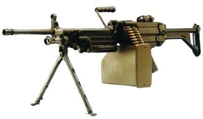 5,56-мм ручной пулемет FN Minimi Standart с металлическим прикладом и ленточным питанием (Бельгия)