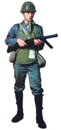 Японский морской пехотинец с пистолетом-пулеметом «Бергманн» модель 1920