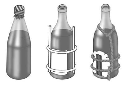 Бутылки с зажигательной смесью: с жидкостью КС; с горючей смесью № 1; самодельная бутылка с бензином