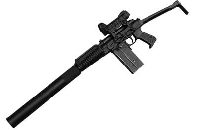 9-мм автомат 9 А-91 с прибором для беззвучно-беспламенной стрельбы расширительного типа и коллиматорным прицелом, рассчитанным на стрельбу до 200 м