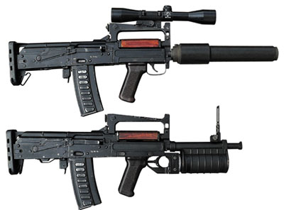 9-мм/40-мм индивидуальное штурмовое оружие ОЦ-14–4 А (снизу), включающее автомат и подствольный гранатомет и ОЦ-14–4 А-03(сверху) – штурмовой автомат с прибором для беззвучно-беспламенной стрельбы и оптическим прицелом