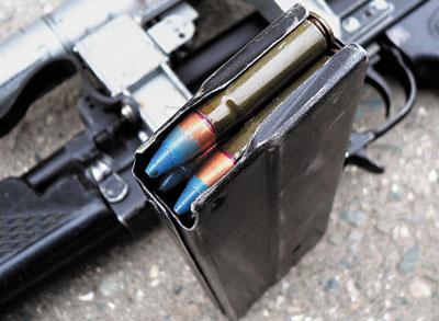 20-зарядный магазин к 9-мм штурмовому автомату ОЦ-14–4 А-01, снаряженный 9-мм специальными бронебойными патронами СП. 6
