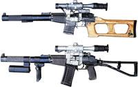 Снайперская винтовка ВСС (сверху) и специальный автомат АС (снизу)