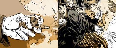Самовзводный револьвер «Протектор» Ж.Э. Тюрбо (1882 год), у которого функцию барабана выполнял плоский диск, а спускового крючка — клавиша. Диаметр дисковидного корпуса-рамки 51 миллиметр, толщина 13 миллиметров. Для выстрела нужно просто сжать кисть.