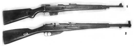 1 - опытный 7,5-мм чехословацкий магазинный карабин; 2 - магазинный карабин МК-74