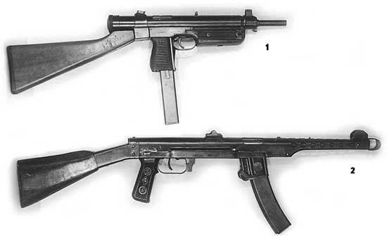 1 - опытный чехословацкий пистолет-пулемёт (вариант с деревянным прикладом); 2 - ППС-43