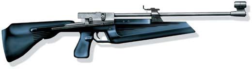 Пружинно-поршневая однозарядная винтовка Иж-60 с взведением боковым рычагом, Россия.