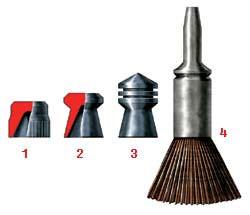 Различные типы пуль, используемые в пневматическом оружии: 1 - свинцовая пуля для начинающих стрелков «дьабло», 2 - пуля типа ДЦМ, 3 - пуля типа «Силвер Джет», 4 - стальная «стрелка» со стабилизатором