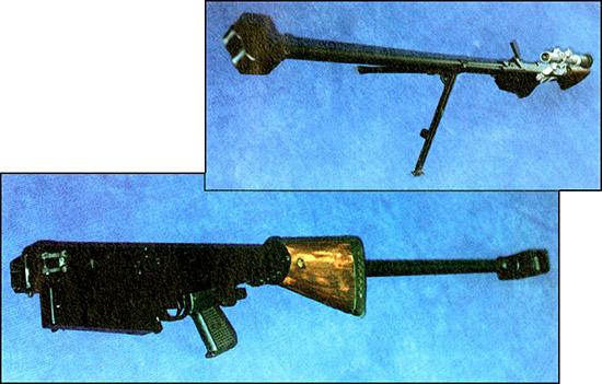 Крупнокалиберная снайперская винтовка В-94  (разработка КБП). Самозарядная работа, эффективный дульный тормоз,  амортизирующий затыльник. Складная конструкция обеспечивает удобство  транспортировки