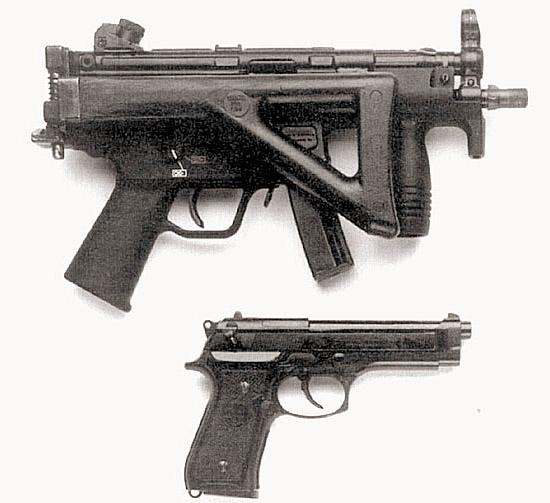 «Хеклер-Кох»  существенно улучшил управляемость при стрельбе своего малогабаритного  9-мм пистолета-пулемета MP-5K за счет нового приклада «Чоат» для оружия  самообороны, с которым он показан на снимке. Но этот образец по  приспособленности к скрытому ношению даже близко не подходит к пистолету  – такому, как штатный М9 (внизу)