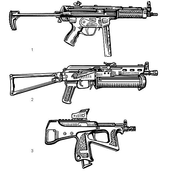 1. Пистолет-пулемет MP5A3 (ФРГ). Патрон — 9×19, начальная скорость пули — 400 м/с, емкость магазина — 15 или 30 патронов; 2. Пистолет-пулемет ПП-19-2 «Бизон-2» (Россия). Патрон — 9×18,  начальная скорость пули — 340 м/с, емкость магазина — 64 патрона; 3. Малогабаритный пистолет-пулемет ПП-2000 (Россия). Патрон —  9×19, начальная скорость пули — 450 м/с (патрон 7Н21), емкость магазина —  20 патронов