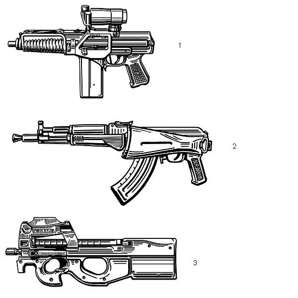1. Малогабаритный автомат 9А-91 (Россия) с коллиматорным прицелом.  Патрон — 9×39, масса без патронов — 2,1 кг, длина со сложенным прикладом  — 383 мм, начальная скорость пули — 270 м/с, емкость магазина — 20  патронов; 2. Малогабаритный автомат АК-104 (Россия). Масса без патронов —  3,2 кг, длина со сложенным прикладом — 586 мм, начальная скорость пули —  670 м/с, емкость магазина — 30 патронов; 3. Бельгийский 5,7-мм пистолет-пулемет FN Р90 открыл иной тип  оружия ближнего боя: патрон с легкой пулей высокой (850 м/с) начальной  скорости с небольшой дальностью убойного действия, малая масса (3,7 кг) и  габариты (длина 490 мм), большая (50 патронов) емкость магазина