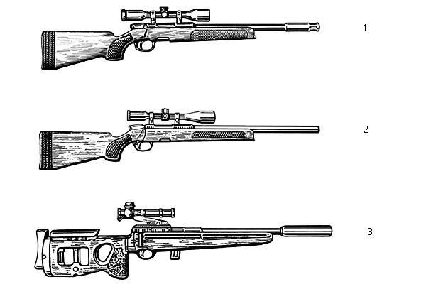 1. Снайперская  винтовка «Штайр» SSG PIV (Австрия) с укороченным стволом и  соответственно усиленным пламегасителем. Патрон — 7,62×51, масса без  патронов — 3,8 кг, длина — 1003 мм, емкость магазина — 5 патронов; 2.  Снайперская винтовка «Штайр» SSG (Австрия). Патрон —  7,62×51, масса без патронов — 4,6 кг, длина — 1140 мм, начальная  скорость пули — 860 м/с, емкость магазина — 5 патронов; 3. 5,6-мм  снайперская винтовка СВ-99 (Россия). Патрон — 22LR, масса без патронов —  3,75 кг, длина с прикладом и глушителем — 1000 мм, с рукояткой и  глушителем — 720 мм, емкость магазина — 5 или 10 патронов