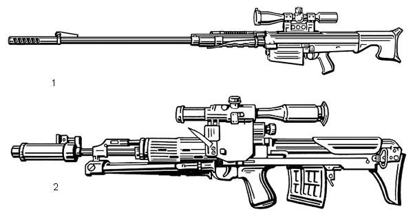 1. 12,7-мм снайперская винтовка ОСВ-96 (Россия). Патрон — 12,7×108,  масса без патронов — 12,9 кг, длина в боевом положении — 1746 мм,  начальная скорость пули — 820 м/с, емкость магазина — 5 патронов. Здесь  винтовка показана с оптическим прицелом, без сошки; 2. Снайперская винтовка СВУ-АС (Россия) . Патрон — 7,62×54,  масса с патронами — 5,5 кг, длина — 900 мм, начальная скорость пули —  800 м/с, емкость магазина — 10 патронов