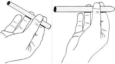 удержание стреляющей сигары в руке